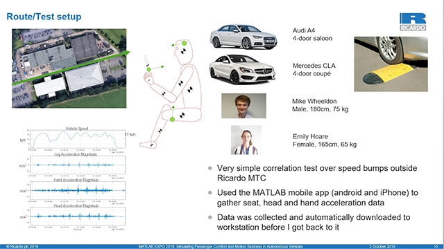 How do you model whether a passenger will experience motion sickness in an autonomous vehicle? Michael Wheeldon from Ricardo will tell us how he used Vehicle Dynamics Blockset and Simscape Multibody to do so, and the further work that this enables.